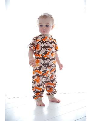 Футболка Веселый малыш. Цвет: бежевый,оранжевый,коричневый