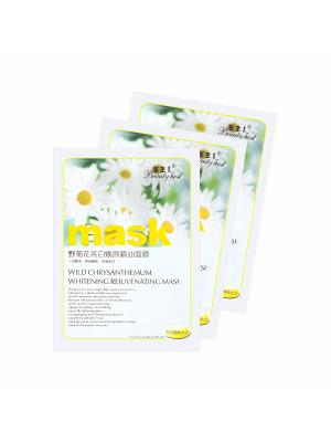 Набор тканевых масок для лица Wild chrysanthemum whitening rejuvenating mask, 3шт., 3*40 гр. Beauty Host. Цвет: прозрачный