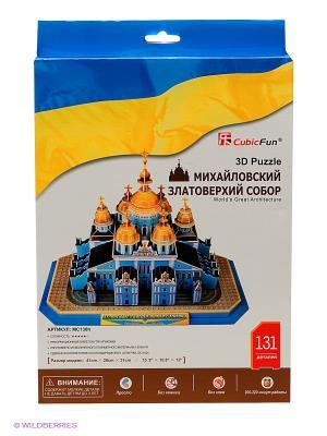Пазл Михайловский златоверхий собор CubicFun. Цвет: синий, желтый, белый