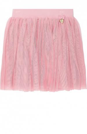 Многослойная юбка с декором Angel's Face. Цвет: розовый