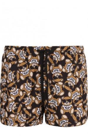 Плавки-шорты с принтом Moschino. Цвет: коричневый