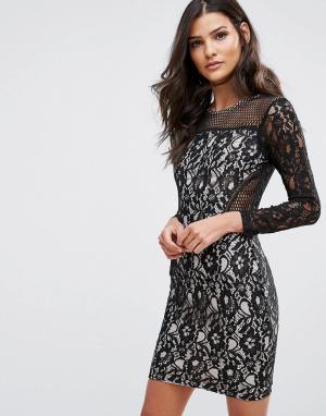 AX Paris Платье мини с длинными рукавами и кружевной отделкой. Цвет: мульти