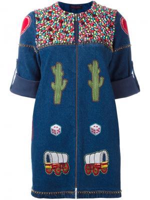 Декорированное джинсовое платье Manish Arora. Цвет: синий