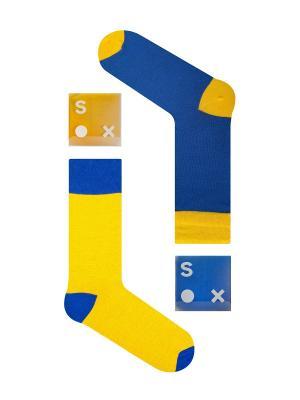 Набор Солнечный пляж (2 пары в упаковке), дизайнерские носки SOXshop. Цвет: синий, желтый
