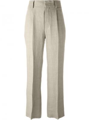 Широкие брюки со складками Alberta Ferretti. Цвет: телесный
