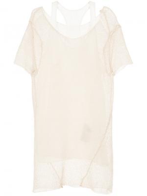 Многослойная футболка Uma Wang. Цвет: телесный