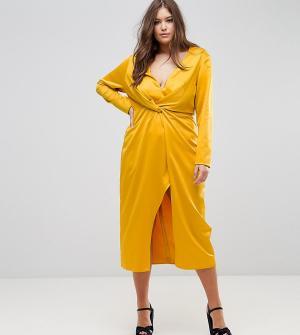 Taller Than Your Average Платье миди с запахом TTYA BLACK Plus. Цвет: желтый