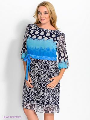 Платье Gemko plus size. Цвет: темно-синий, голубой