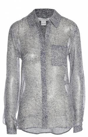 Шелковая блуза прямого кроя с контрастным принтом Diane Von Furstenberg. Цвет: разноцветный