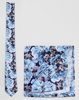 ASOS Темно-синий галстук и платок для пиджака с цветочным принтом DESI. Цвет: темно-синий