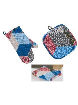 Набор текстиля для кухни: рукавичка, прихватка, полотенце Традиция. Цвет: темно-синий, малиновый, бежевый, белый