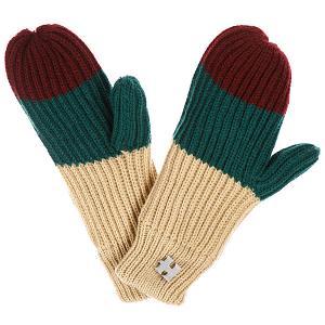 Варежки женские  Beatrice Gloves Beige/Dark Green/Wine Harrison. Цвет: бежевый,бордовый,зеленый