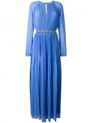 Длинное плиссированное платье Michael Kors. Цвет: синий