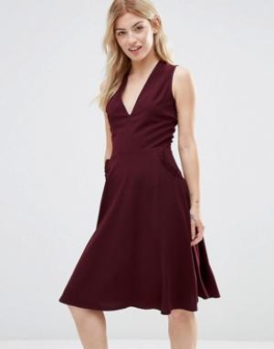 Alter Платье с отделкой рюшами на карманах. Цвет: красный