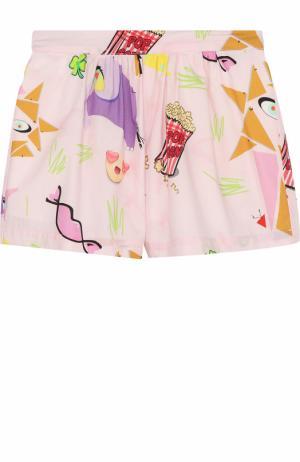 Хлопковые мини-шорты с принтом I Pinco Pallino. Цвет: разноцветный