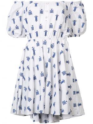 Платье с открытыми плечами Caroline Constas. Цвет: белый