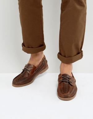 ASOS Коричневые кожаные мокасины с вплетенным шнурком. Цвет: коричневый