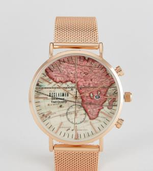 Reclaimed Vintage Золотисто-розовые часы с сетчатым браслетом и принтом карты на цифербл. Цвет: золотой
