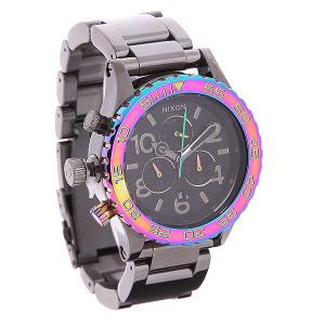 Часы  Chrono Gunmetal/Multi Nixon. Цвет: фиолетовый,серый