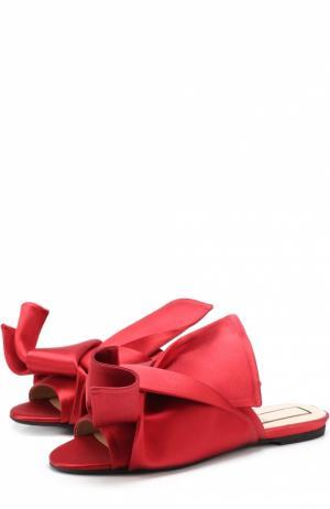 Атласные сабо с бантом No. 21. Цвет: красный