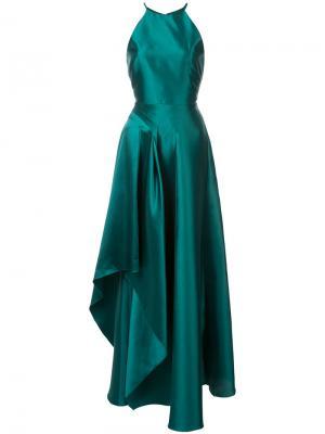 Asymmetric night gown Badgley Mischka. Цвет: зелёный