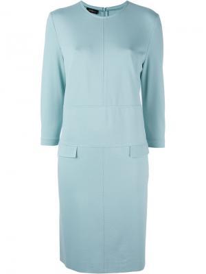 Приталенное платье с простроченной отделкой Les Copains. Цвет: синий
