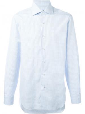 Рубашка с сетчатым принтом Barba. Цвет: синий