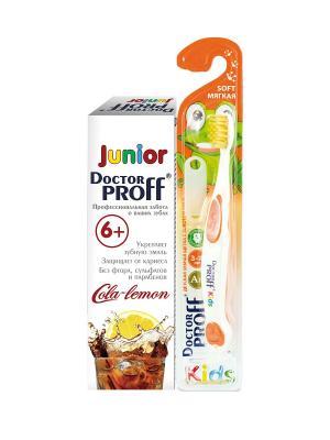 Зубная Паста Doctor Proff Junior Кола-Лимон 6+ 100Г И Щетка С Золотом , Комплект. Цвет: белый