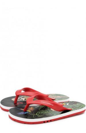 Резиновые шлепанцы с принтом Dolce & Gabbana. Цвет: красный