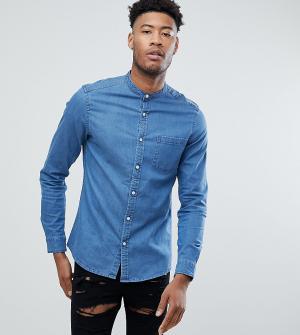 ASOS Облегающая эластичная джинсовая рубашка с воротником на пуговице. Цвет: синий