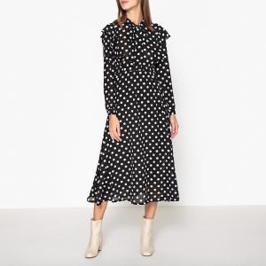 Платье до колен с длинными рукавами SISTER JANE. Цвет: черный/ белый