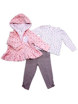 Комплект из 3-х предметов Нежность Little Me. Цвет: белый, розовый