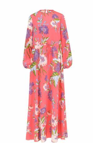 Шелковое платье-макси с ярким принтом Diane Von Furstenberg. Цвет: розовый