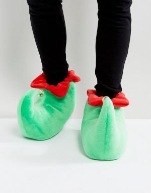 ASOS Зеленые новогодние слиперы с колокольчиками. Цвет: зеленый