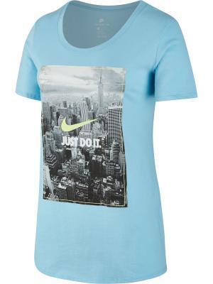 Футболка W NSW TEE PHOTO JDI BF Nike. Цвет: синий
