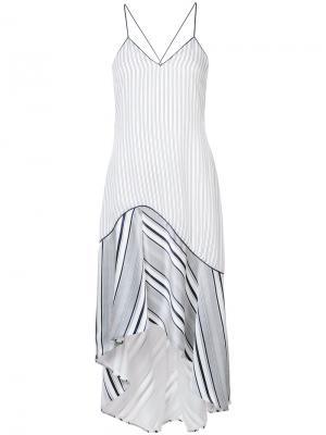 Асимметричное платье в полоску Jonathan Simkhai. Цвет: белый