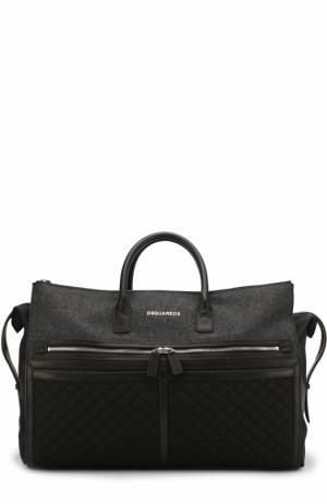 Текстильная дорожная сумка с кожаной отделкой Dsquared2. Цвет: черный