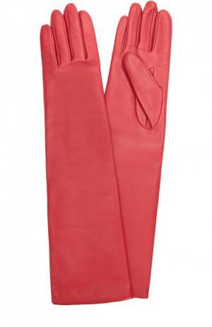 Удлиненные кожаные перчатки с отделкой из шерсти Agnelle. Цвет: красный