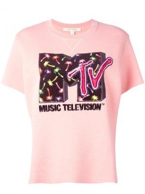 Декорированная толстовка с короткими рукавами MTV x Marc Jacobs. Цвет: розовый и фиолетовый