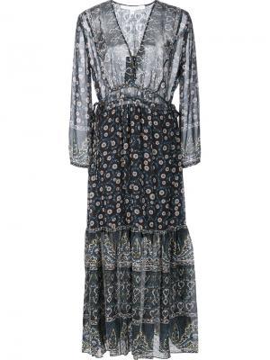 Платье с цветочным принтом Veronica Beard. Цвет: синий