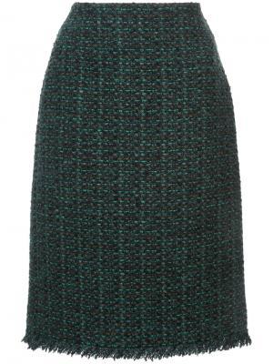 Твидовая юбка-карандаш Paule Ka. Цвет: зелёный