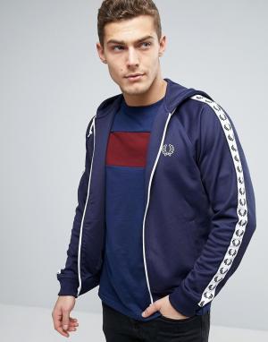 Fred Perry Синяя спортивная куртка с капюшоном Sports Authentic. Цвет: темно-синий