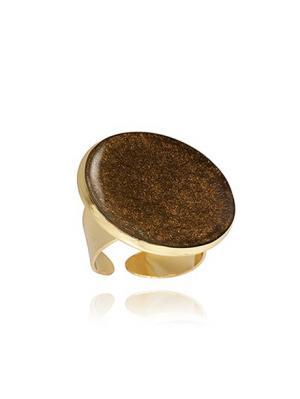Большое кольцо Горячий шоколад  в золоте Dragon Porter. Цвет: коричневый
