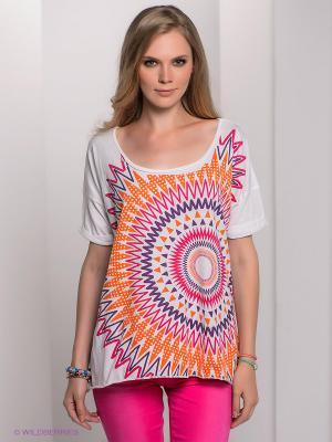 Футболка Bogner Jeans. Цвет: белый, фиолетовый, фуксия, оранжевый