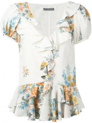 Блузка с цветочным принтом Alexander McQueen. Цвет: белый