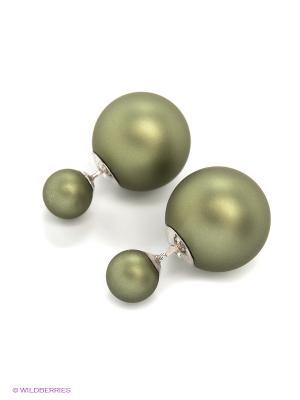 Серьги JV ДЖЕЙ ВИ. Цвет: оливковый, серебристый