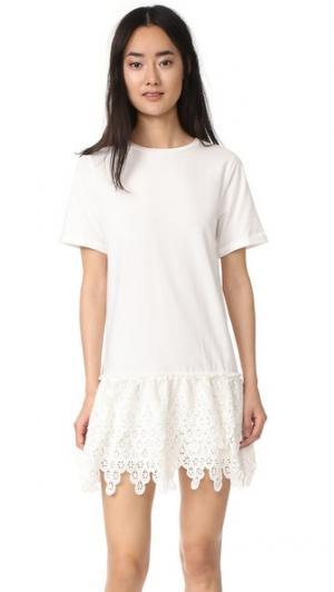 Платье с короткими рукавами и отделкой ENGLISH FACTORY. Цвет: белый