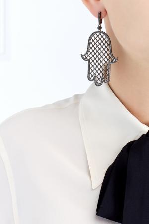 Серьги Калинка Axenoff Jewellery. Цвет: серебряный, зеленый