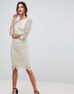 Paper Dolls Ажурное платье-футляр с рукавами длиной 3/4. Цвет: кремовый
