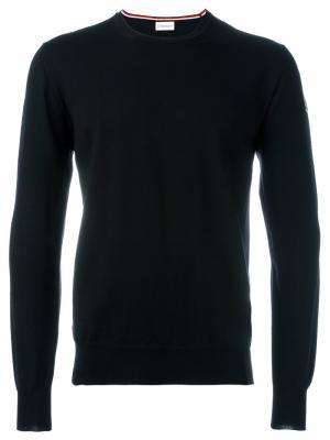 Классический трикотажный свитер Moncler. Цвет: чёрный